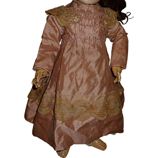 Charming pink dress for antique french bebe or german child doll