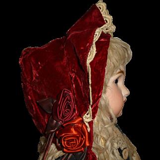 Charming dark red velvet bonnet for large antique doll