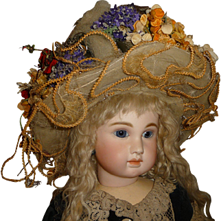Stunning antique tulle and floral bonnet for large antique doll