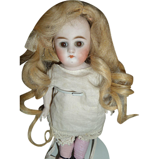 Wonderful small size antique long blond mohair doll wig for german or french doll