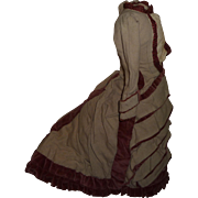 Beautiful elaborate french fashion dress for large antique doll poupee or lady