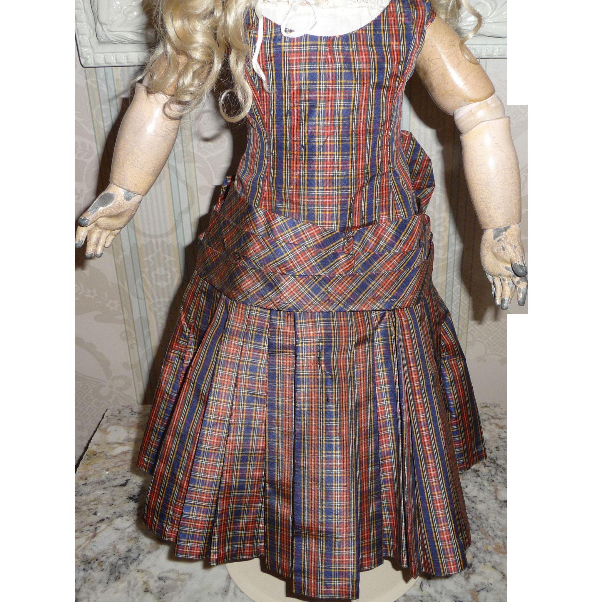 Antique original plaid silk taffeta doll dress with dropped waist