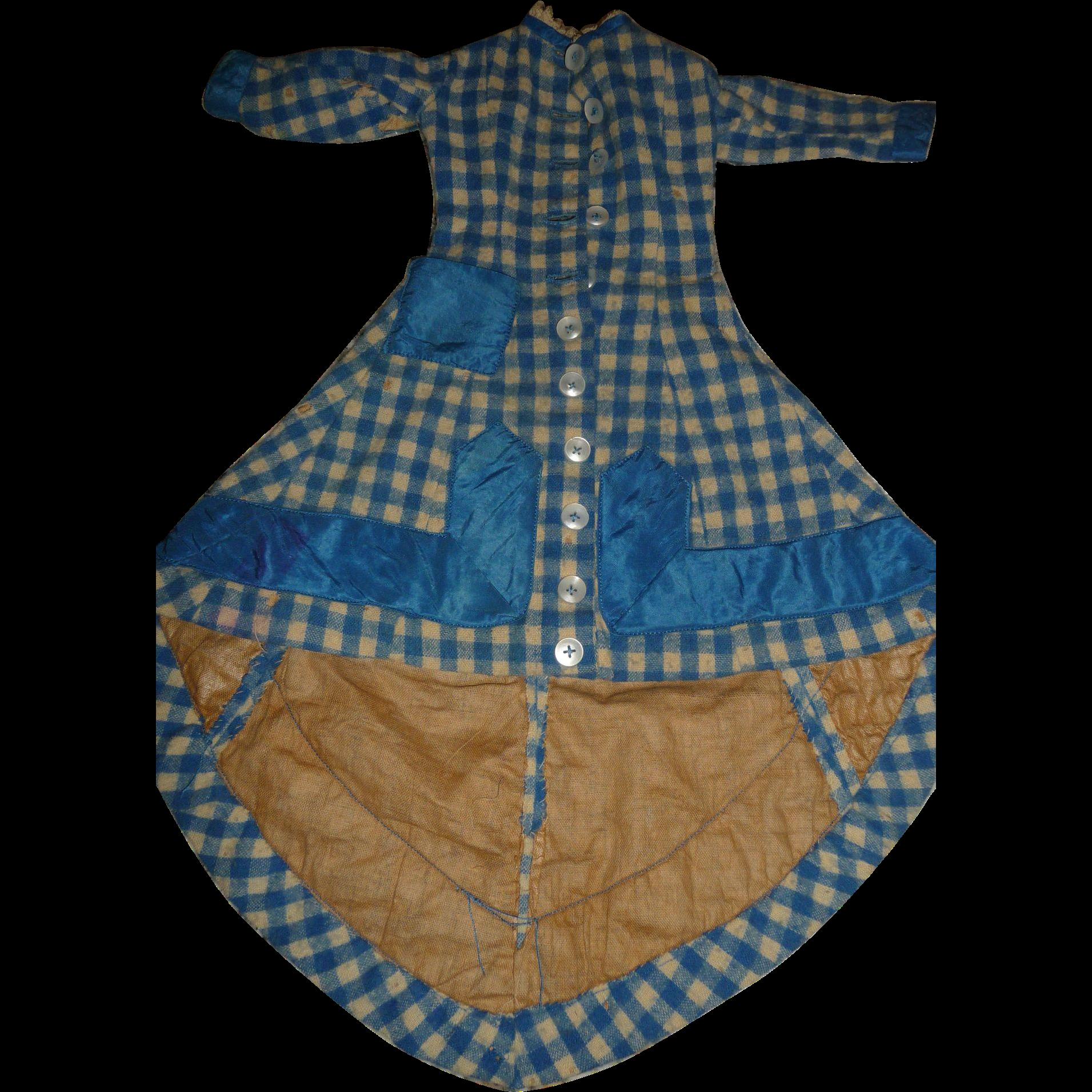 Antique original wool german or french fashion doll dress