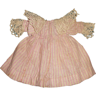 Charming small size antique doll dress in pink stripes for german or french doll