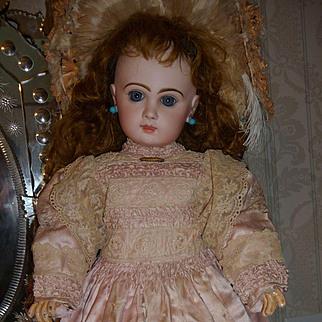 Extraordinary original antique french doll dress of pink silk satin