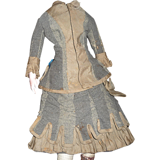 Beautiful antique original two piece elaborate walking dress in grey wool