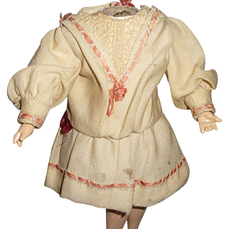 Wonderful original antique wool doll dress with ribbon trim for german or french doll