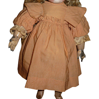 Beautiful antique peach bebe dress for german or french antique doll