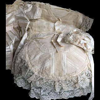 Wonderful ivory Christening Silk set in original box