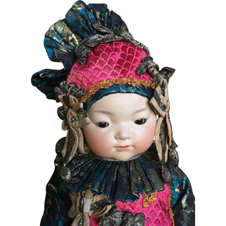 Large Beautiful oriental baby by AM Ellar with magnificent costume  and hat