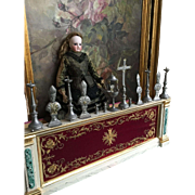 Antique doll church altar with accessoires in box