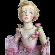 Antique Lenci Boudoir Lady rose organdy dress