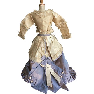French fashion doll dress made with antique silk fabric