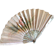 Victorian French silk fan with his silk fan case