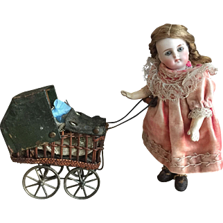 """Little 7"""" K&R mignonette with her buggy"""