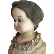 Wax over papier mache' German doll 1870 ca. Original dress