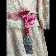 Irish crochet lace little girl dress about 1900 era. Perfect