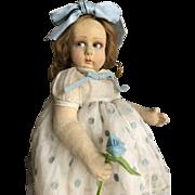 Antique little lenci with light blue flower