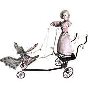 Rare French automaton Fg little girl riding butterfly