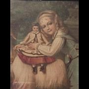 Pair of antique ca 1890 chromolitho children dolls sheep framed