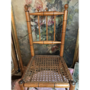 Antique French faux bamboo chair