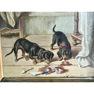 Very nice old oil painted painting with two dachshund dogs