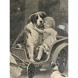Couple of beautiful Victorian litho children dogs