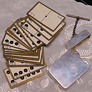 Portable Classic Dominoes Cards Set in English sterling silver box Birmingham 1903