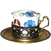 German Russian 800 silver gilded cup holder saucer porcelain bowl cover circa 1910