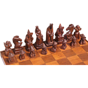 Hungarian chess set figural hand carved  wood circa 1980