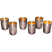 Russian Estonian 916 silver set of 6 shot cups glasses gilded inside c. 1958