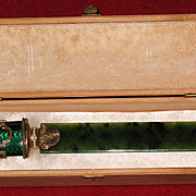 Russian FABERGE gilded silver letter opener jade blade precious stones pearls by Michael Perxin