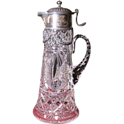 Russian Imperial crystal & 84 silver claret pitcher hallmarked circa 1908