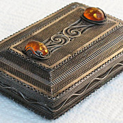Russian 875 silver filigree box with Amber cabochons hallmarked