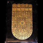 Siamese Buddha footprint gold leaf on black lacquer circa 1925