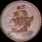 Enamel on copper Canton presentation  plaque with Dutch VOC Black ship Chinese ca 1800