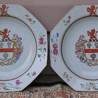 Chinese Armorial porcelain pair of plates Qianlong c.1755