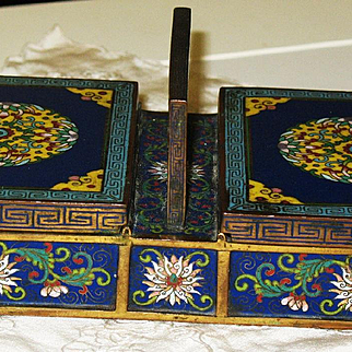 Chinese cloisonne opium double compartments box 18th century