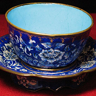 Chinese enamel on copper cloisonne cup and saucer 18 century