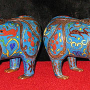 Chinese cloisonne figural ceremonial pair of lamps 19th century