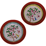 Chinese enamel cloisonne on bronze trays with lacquer fitted pedestals 18th century