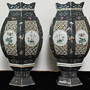 """Chinese porcelain  lanterns pair 19th century 12.5"""""""