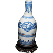 Chinese porcelain blue & white vase sign 19th century