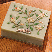 Chinese translucent green hardstone box inlaid Jade  Coral chalcedony circa 1900