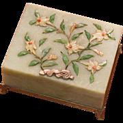 Chinese translucent green hardstone box inlaid Jade  Coral chalcedony circa 1900