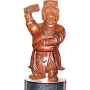 Chinese wood carving of Guan Yu God of War 7.5""