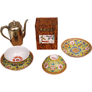 Chinese Oolong tea set consist tea caddy, 2 cups and saucers and paktonq tea pot