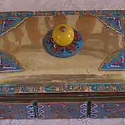 Chinese paktong cloisonne box Imperial yellow Peking glass finial 19 century