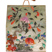 Chinese translucent green hardstone plaque/table screen  inlaid Jade Lapis Coral chalcedony circa 1900