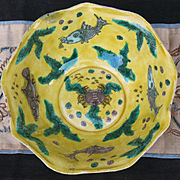 Chinese Swatow porcelain bowl sea life on yellow ground inside 19th century